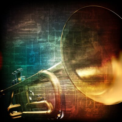 Fototapete abstract grunge background with trumpet