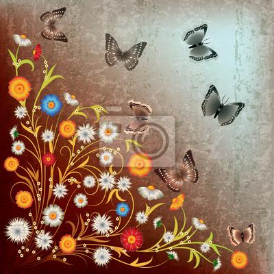abstract grunge Blumen und Schmetterling