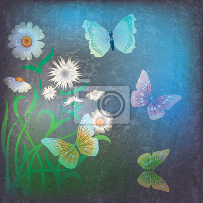 abstract grunge mit Blumen und Schmetterling