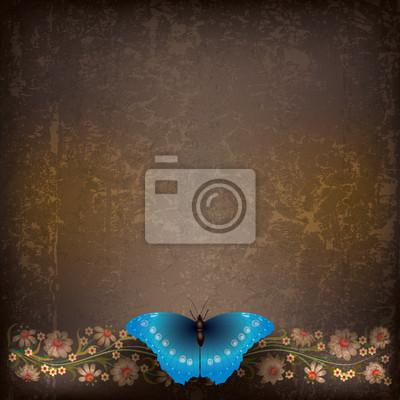 abstract grunge mit Schmetterling und Blumen