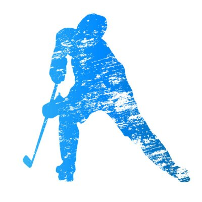 Fototapete Abstract grungy vector ice hockey player