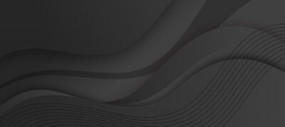 Fototapete Abstract liquid black background with dynamic waves effect texture design 3D modern wave curve futuristic graphic poster, banner.  Vector luxury paper cut presentation black background with waves.