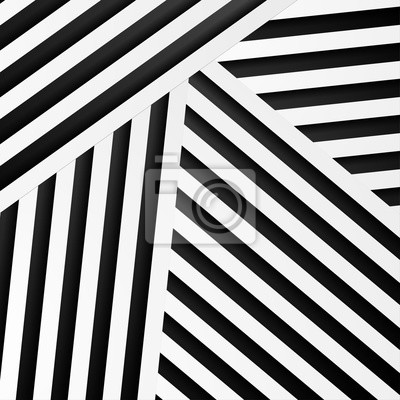 Fototapete Abstract minimal background with black and white stripes. Vector geometric design