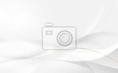 Fototapete Abstract modern futuristic white wavy and gold lines with blurred light curved lines background