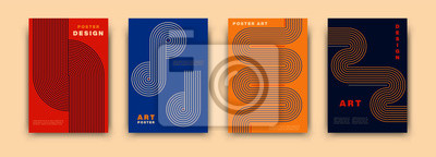 Fototapete Abstract modernism graphic poster design. Vintage colorful vector covers set swiss memphis style. Retro geometric art compositions for journal, books, posters, flyers, magazines