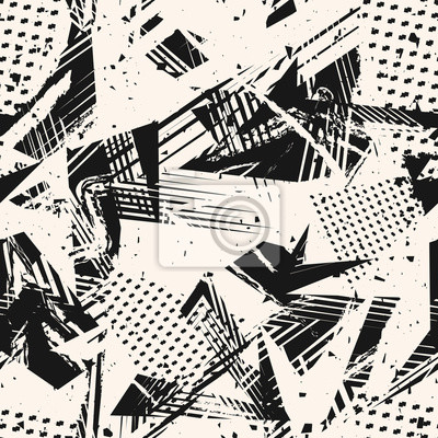 Fototapete Abstract monochrome grunge seamless pattern. Urban art texture with paint splashes, chaotic shapes, lines, dots, triangles, patches. Black and white graffiti style vector background. Repeat design