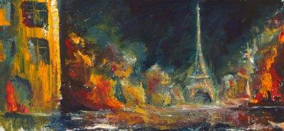 Fototapete Abstract night paris. Original oil old city on canvas.Modern