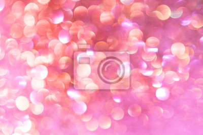 Fototapete Abstract Orange White And Pink Silver Bokeh Background With Texture