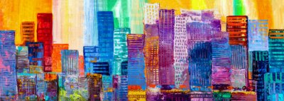 Fototapete Abstract painting of urban skyscrapers.