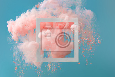Fototapete Abstract pastel pink color paint with pastel blue background.. Fluid composition with copy space. Minimal natural luxury.