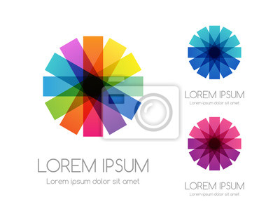Fototapete Abstract rainbow color logo. Colorful vector emblem.