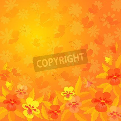 Fototapete Abstract Red Orange And Yellow Background Pansies Flowers