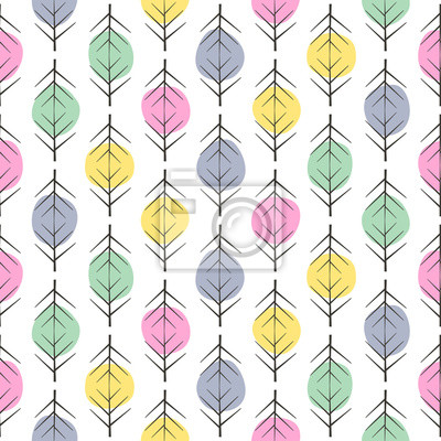 Fototapete Abstract seamless backgrounds with colorful dots and graphic elements. Cute vector seamless patterns. Trendy design for textile, wallpaper, fabric, decor.