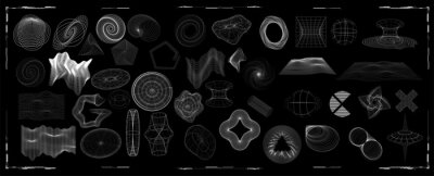 Fototapete Abstract shapes collection is a trending mixture modern diverse design elements,  geometric shapes. Cyberpunk retro futurism set, vaporwave. Memphis design elements for web, advertisement,posters