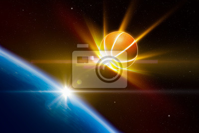 Abstract sports background - glowing basketball approaches planet Earth