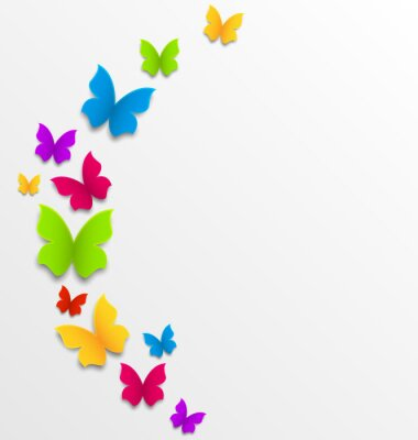 Fototapete Abstract spring background with rainbow butterflies