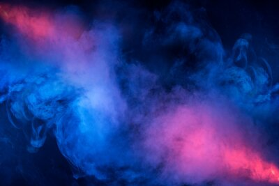 Fototapete Abstract texture of backlit smoke in red blue on a black background.