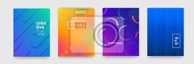 Fototapete Abstract trendy gradient flowing geometric pattern background texture for poster cover design. Minimal color gradient banner template. Modern vector wave shape for brichure