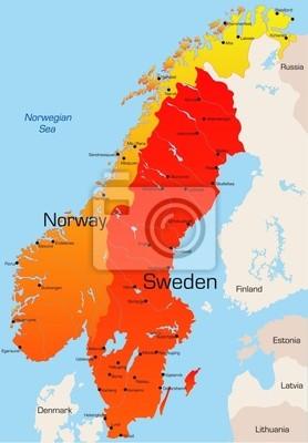 Karte Norwegen Schweden.Fototapete Abstract Vector Farbe Karte Von Norwegen Und Schweden Land