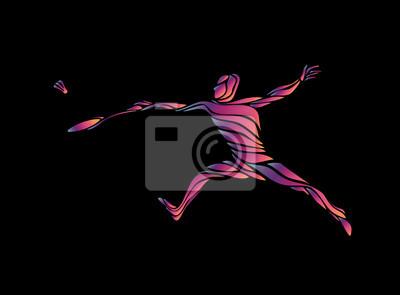 Abstract vector multicolor stilisiert Badmintonspieler
