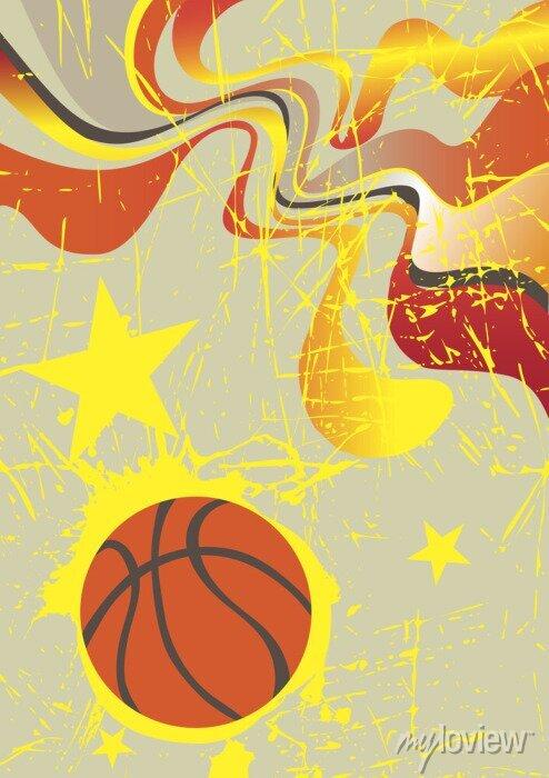Fototapete Abstract vertical Basketball-Banner mit gelben Sternen