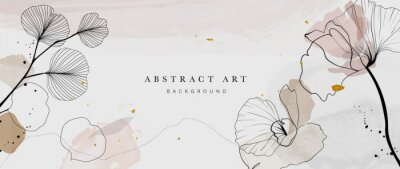 Fototapete Abstract watercolor art background vector. Gingko and botanical line art wallpaper. Luxury cover design with text, golden texture and brush style. floral art for wall decoration and prints.