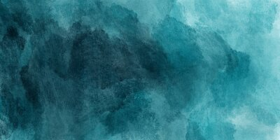 Fototapete Abstract watercolor paint background by teal color blue and green with liquid fluid texture for background, banner