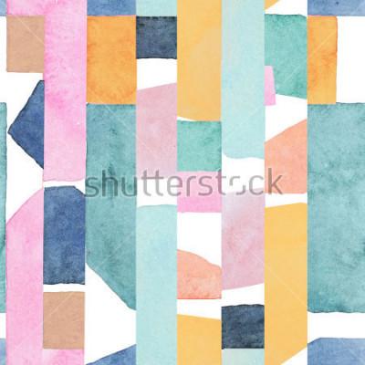 Fototapete Abstract watercolor seamless pattern. Artwork in geometric modern style.