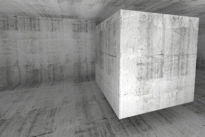 Fototapete Abstract white concrete room 3d background with cube