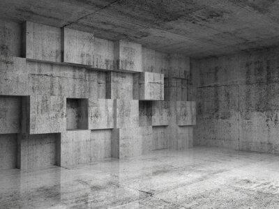 Fototapete Abstrakt 3d interior Betonwürfel mit Dekoration an der Wand