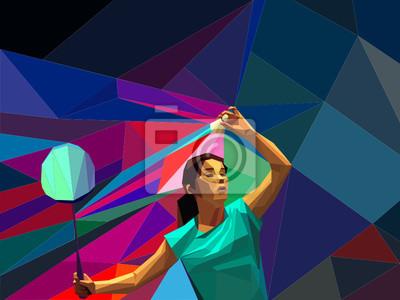 Abstrakt Badminton-Spieler zu tun Schuss dienen