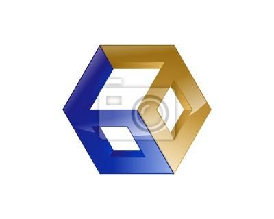 Abstrakt box logo-vorlage fototapete • fototapeten Herstellung ...