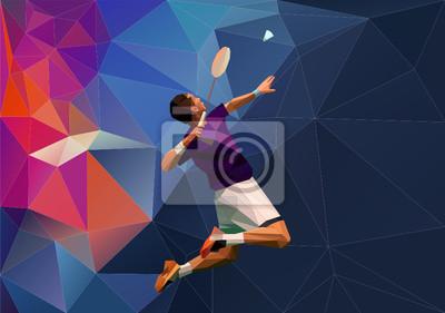 Abstrakt Dreieck Polygon Stil männliche Badmintonspieler