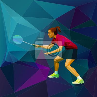 Abstrakt Dreieck Stil weiblichen Badmintonspieler