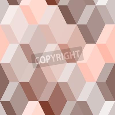 Fototapete Abstrakt geometrische nahtlose Muster in rosa und braun, Vektor