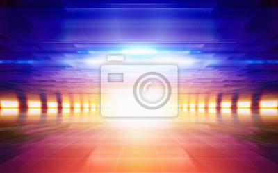 Abstrakt geometrischen Hintergrund, helles glühendes orange Licht, blau