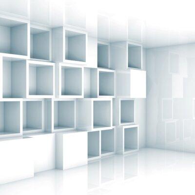 Fototapete Abstrakt leere 3d interior, leere Würfel Regalen an der Wand