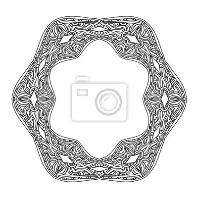 Abstrakt mandala rahmen malvorlage seite fototapete • fototapeten ...