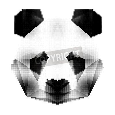 Fototapete Abstrakt monochrome Panda tragen Porträt isoliert auf weißem Hintergrund für den Einsatz in Design für Karte, Einladung, Poster, Banner, Plakat, Billboard Abdeckung