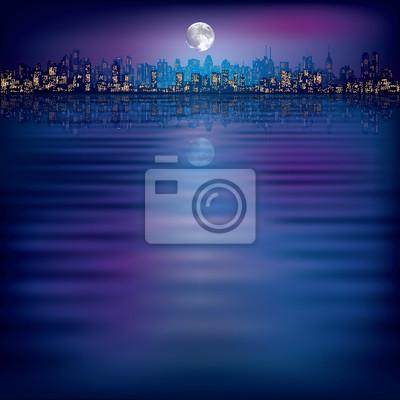 abstrakt Nacht Hintergrund mit Silhouette der Stadt