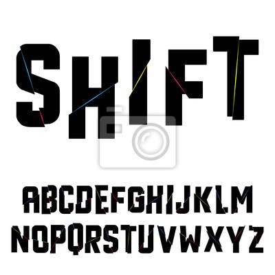 Abstrakt Verschiebung Alphabet. Vektor-Illustration.