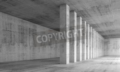 Fototapete Abstrakte Architektur Hintergrund, leere Innenraum mit Betonwänden und Spalten in einer Zeile, 3D-Darstellung mit Perspektive-Effekt