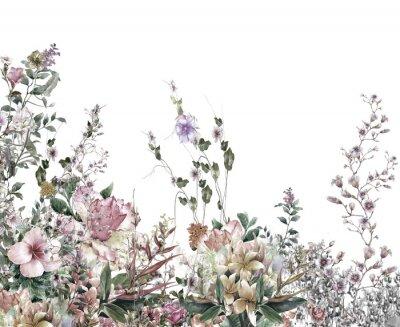 Fototapete Abstrakte Blumen Aquarellmalerei. Frühling mehrfarbige Blumen
