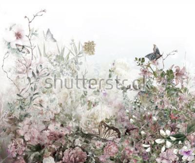 Fototapete Abstrakte bunte Blumenaquarellmalerei. Frühling in der Natur mehrfarbig