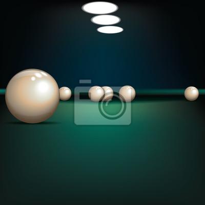 abstrakte Darstellung mit Billardkugeln auf grünem Tuch