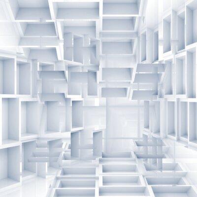 Fototapete Abstrakte digitale 3D-Hintergrund mit chaotischen white cubes