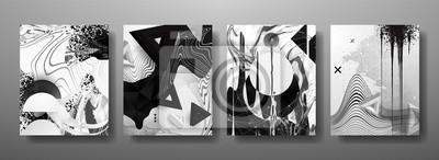 Fototapete Abstrakte flüssige, Linien und Formen kreative Vorlagen, Karten, Farbabdeckungen eingestellt. Geometrisches Design, Flüssigkeiten, Formen. Trendige Vektor-Sammlung.