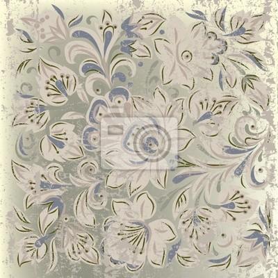 abstrakte Grunge Hintergrund mit floralen Ornament beige