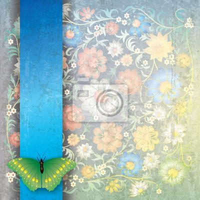 abstrakte Grunge-Hintergrund mit Schmetterlingen und Blumen