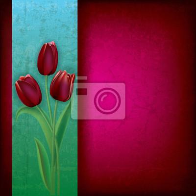 abstrakte Grunge Hintergrund mit Tulpen